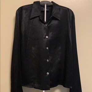 Vintage early 90's black satin blouse